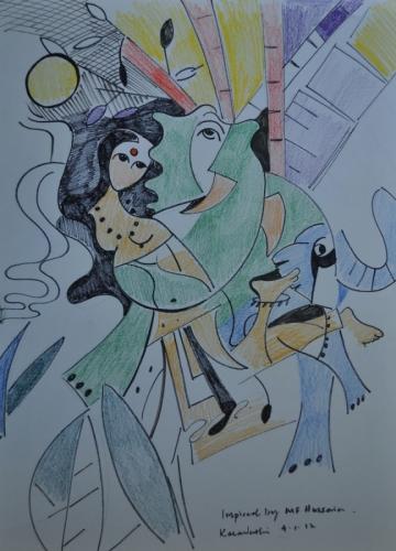 Study MF Hussain Painting