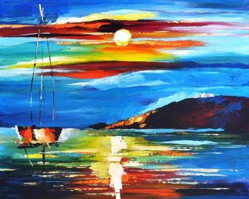 Sunset after Leonid Afremov