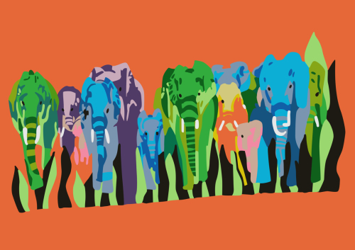 Elephants Abstract