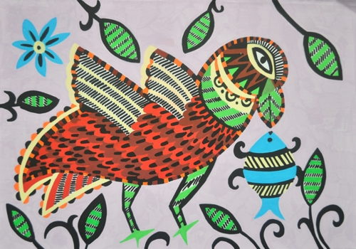 Bird in Madhubani Art