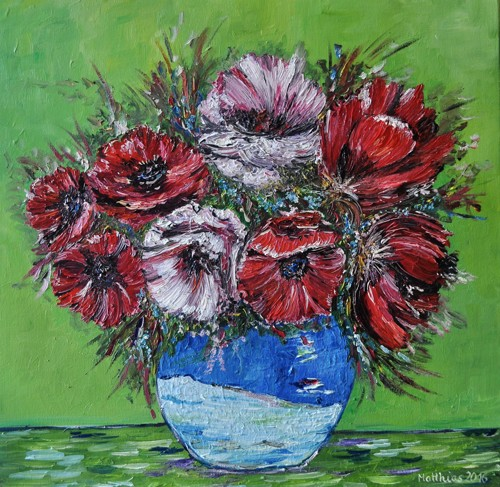 Poppies in Blue Vase