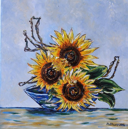 Three sunflowers in Blue Bowl led