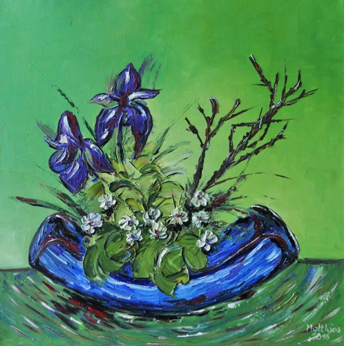 Vase with Irises and Greens