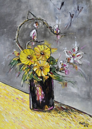 Yellow Anemones and Franchipani in Black Vase