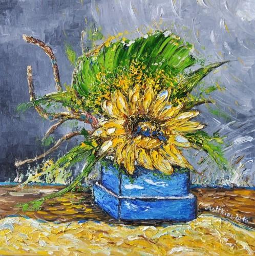 Single Sunflower in square blue Vase
