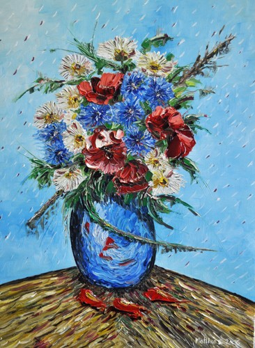 Poppies, Daisies? and Cornflowers in Vase