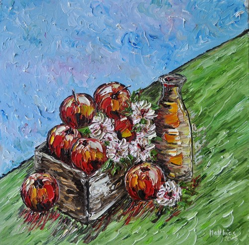 Red Apples in wooden box with Apple Cider