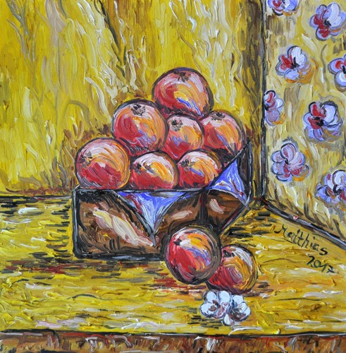 Peaches in wooden chest