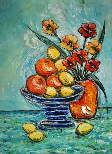 Lemons and oranges with poppies