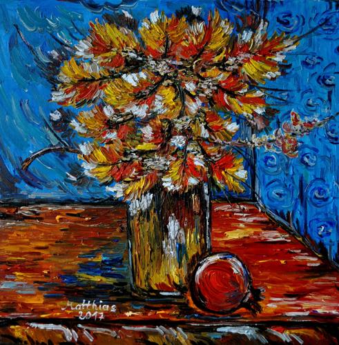 Autumn leaves and pomegranate