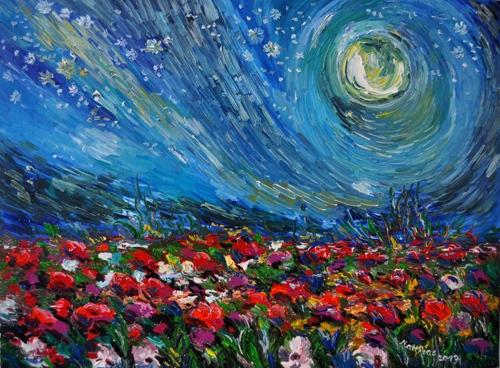Full Moon over blooming Flower Field