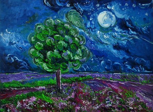 Tree and purple Flower Field at Full Moon