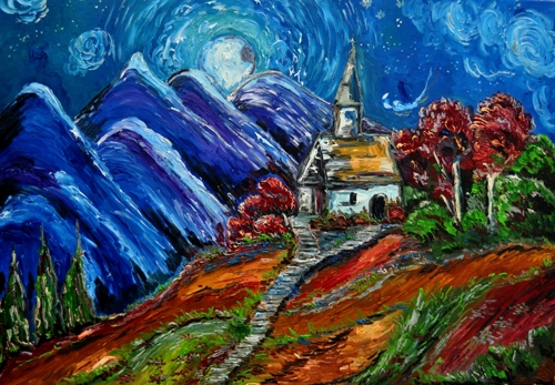 Chapel in the Mountains at Nightfall