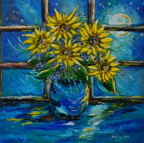 Sunflowers in Vase with Full Moon