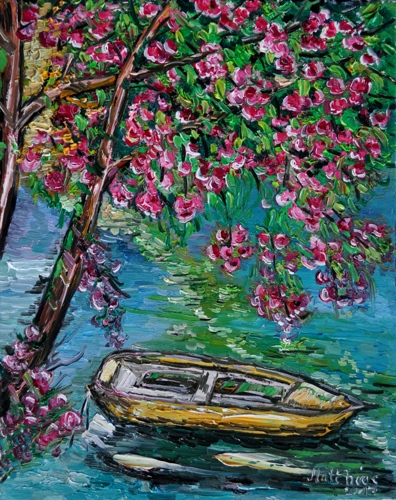Boat under Blooming Tree