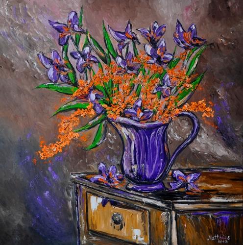 Irises in purple Vase