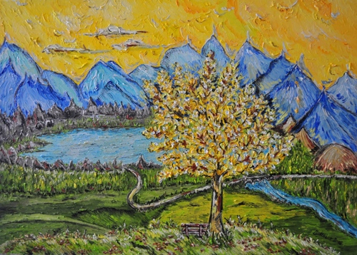 Yellow tree with Lakeside View