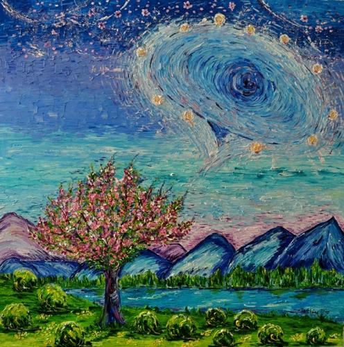 Cosmic Library (Akashik Records) and Cherry Blossom Tree
