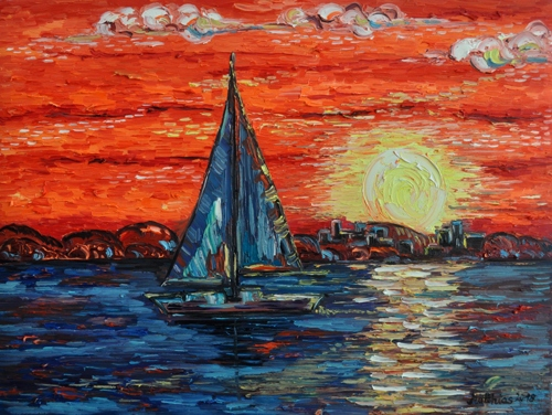 Sailing Boat Arrival at Sunset
