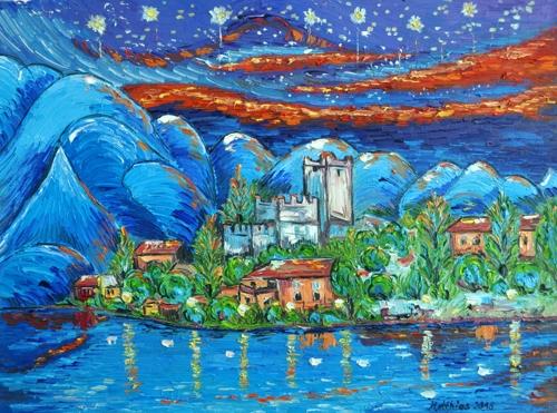 Lake Garda Castel at sundown