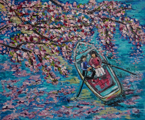 Rowing Boat under flowering Trees