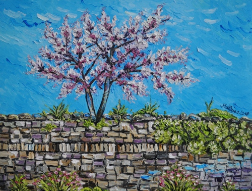 Two Cherry Trees on Wall
