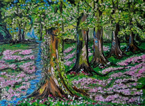 Forest with Path and Flowers