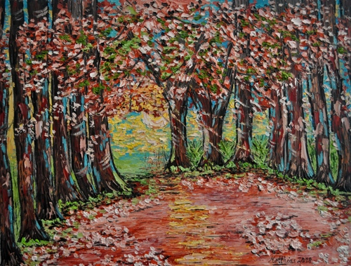 Forest Alley with flowering Trees