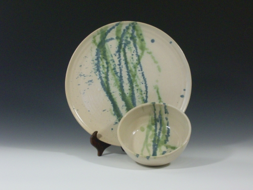 Serving plate and dip bowl