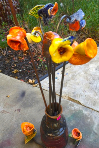 Ceramic and Metal Flowers (4)