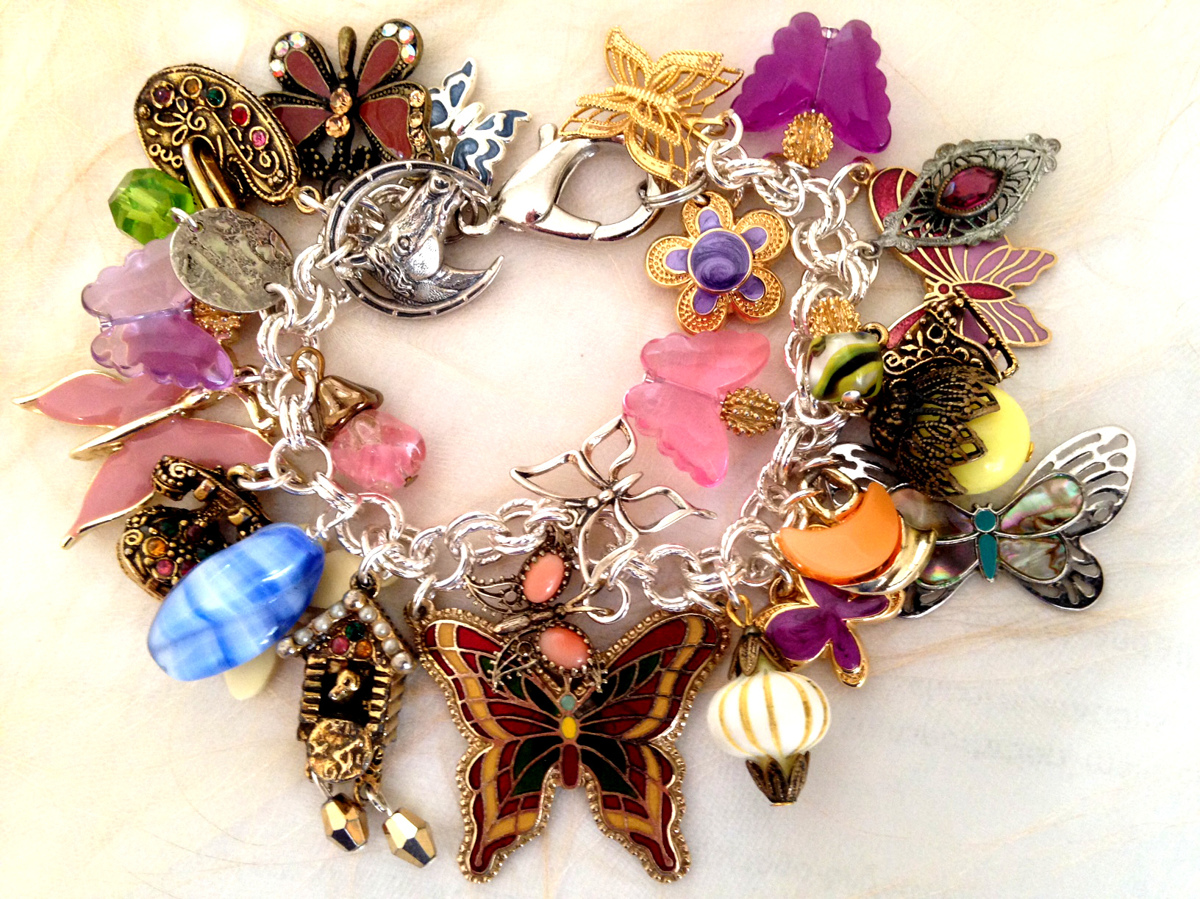 Butterflies Themed Reconstructed Charm Bracelet (large view)