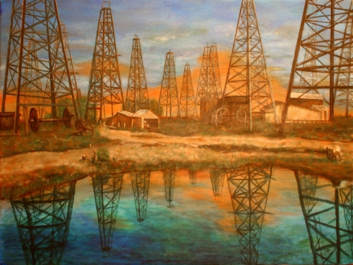 WOODEN OIL DERRICKS by Karen Peterson