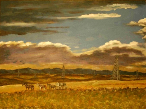 OIL FIELD WITH HORSES by Karen Peterson
