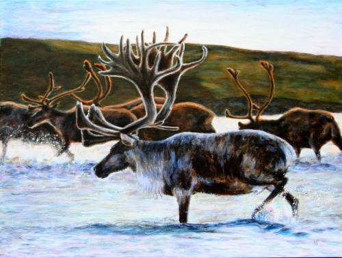 MIGRATING CARIBOU by Karen Peterson
