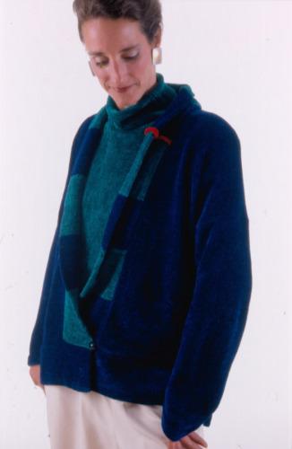 Blue Shawl Collar Sweater