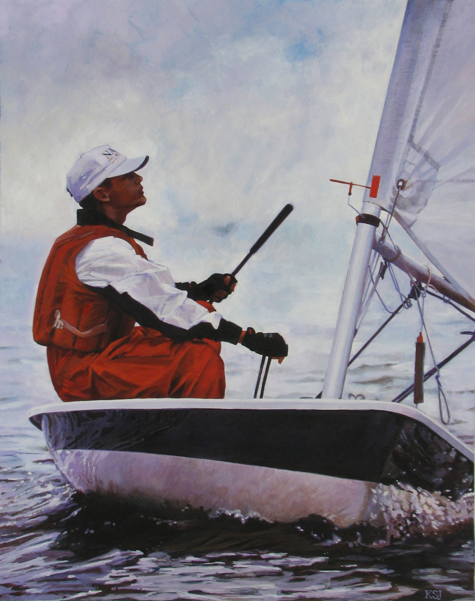 Young man sailing on Lake Pontchartrain (large view)