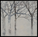 Grey-blue trees surrounded by a wintery landscape with subtle circular patterning. (thumbnail)