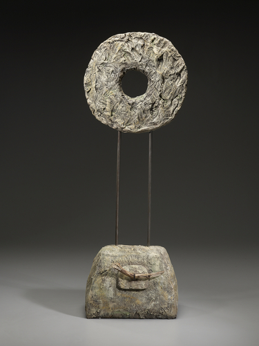 Earth and Sun (white raku, paint, metal)