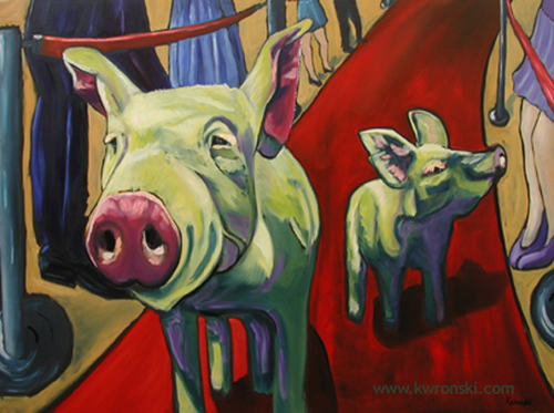 animal oil paintings famous pigs by kathryn wronski