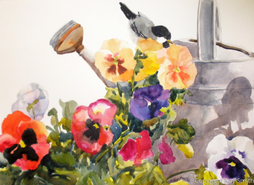 Chickadee Watering Can Pansies