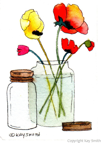 Mason Jar Poppies