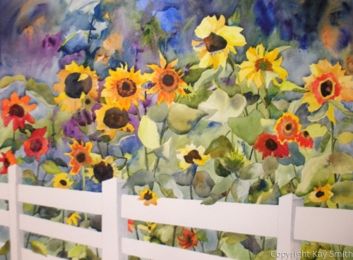 White Fence Sunflowers