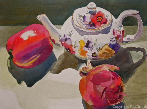 Teapot with Red Onion and Pepper