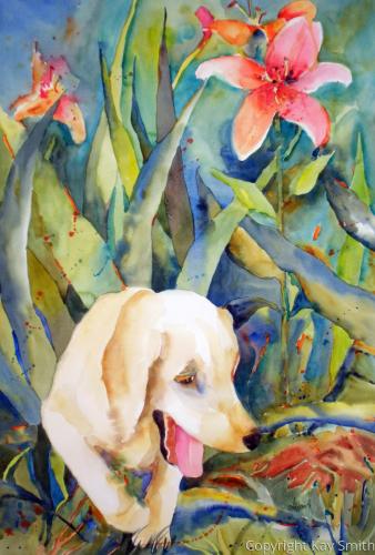 Puppy in Flowerbed