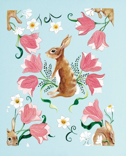 Rabbit and Tulips