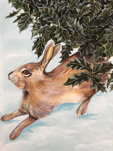 Winter Rabbit under Holly
