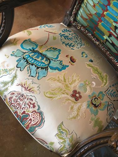 Handpainted silk chair