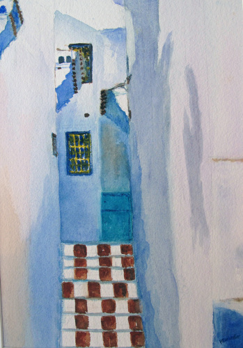 Chaouen steps by Katherine Blakeslee