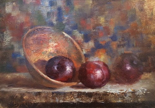 3 Plums in Brass Bowl