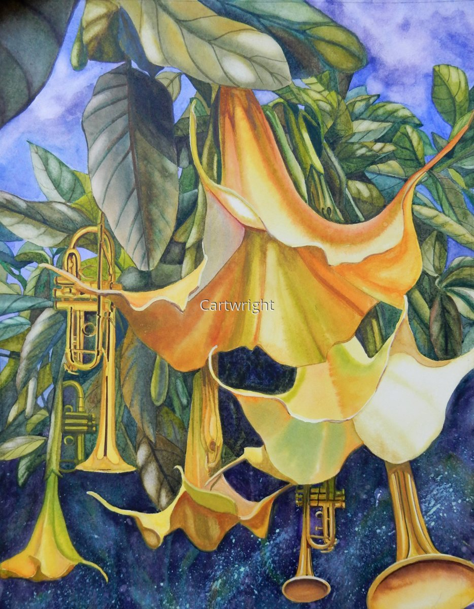 Painting Quot Trumpet Plant Quot Original Art By Katharine A